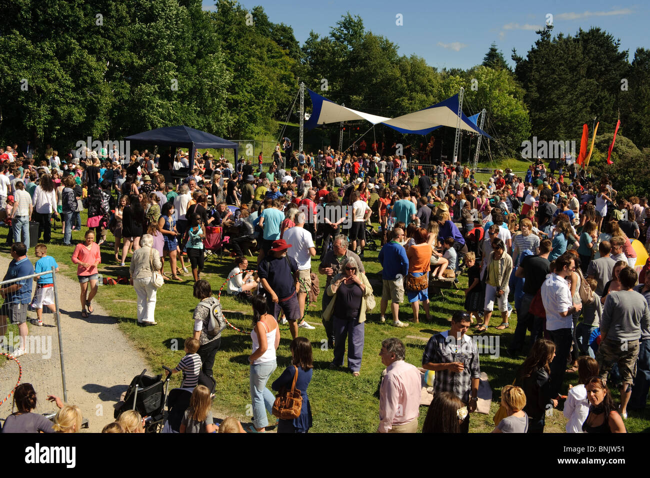 Aberystwyth Arts Centre 'Mid Mad - Midsummer Madness' open air free music festival, Wales UK - Stock Image