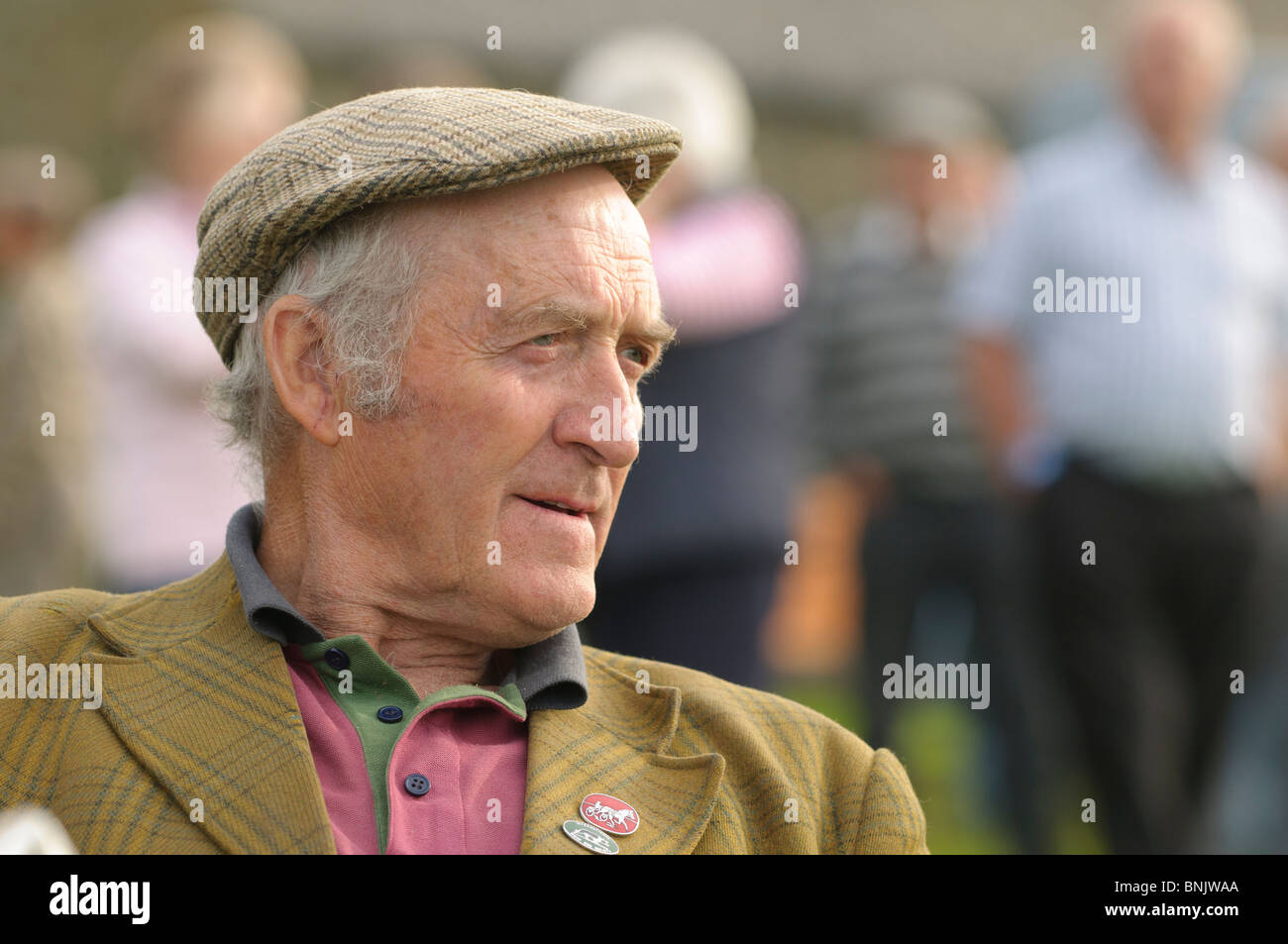 1e7c8fa88408 A farmer wearing a flat cap watching Sheepdog trials on a farm in west  wales UK