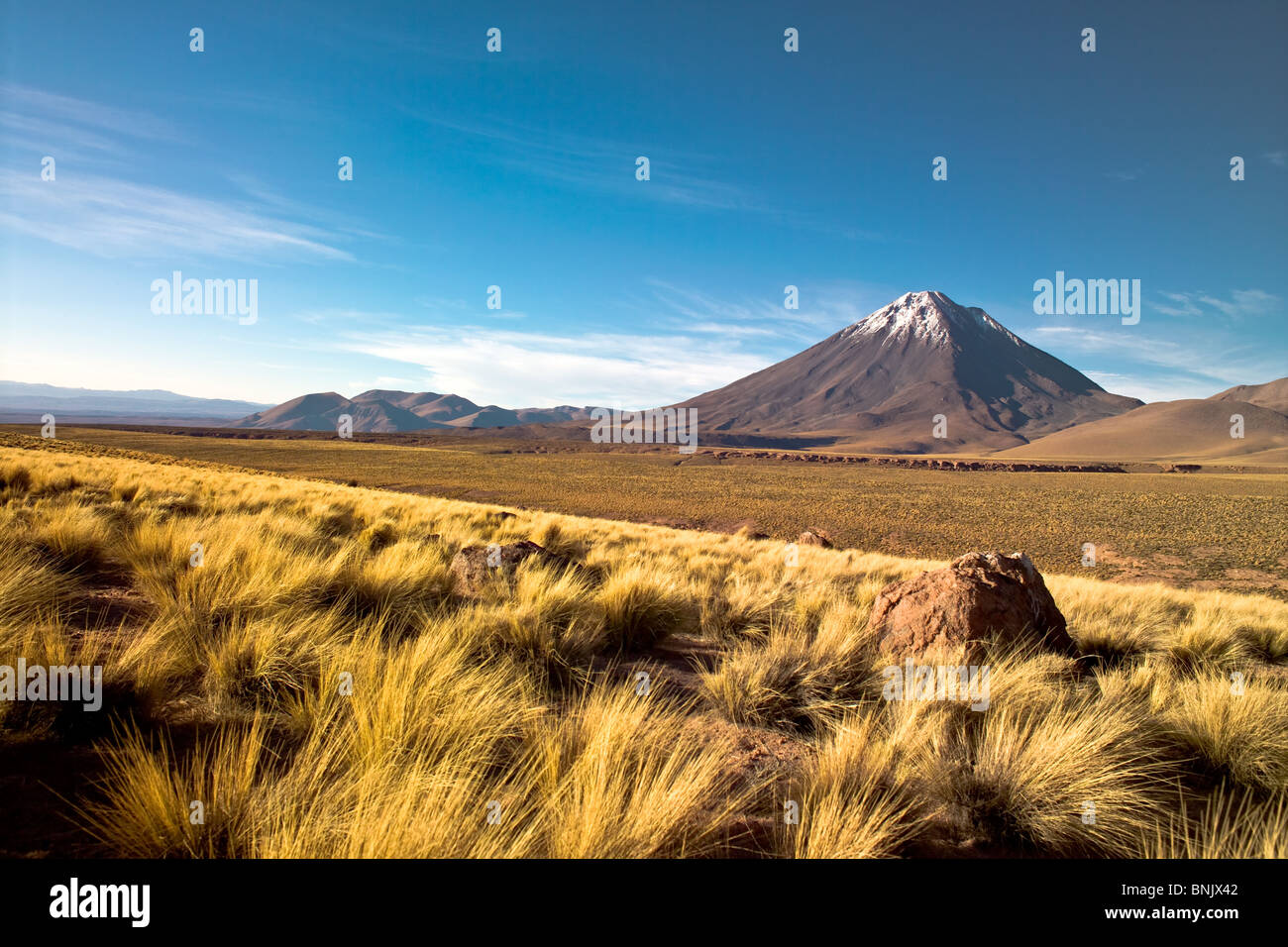 Licancabur volcano in the Atacama desert, Chile - Stock Image