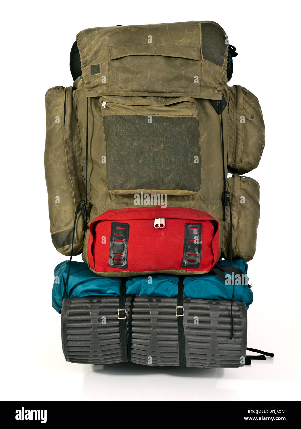 Thirty year old backpack. Patched and thrashed from many high elevation adventures. - Stock Image