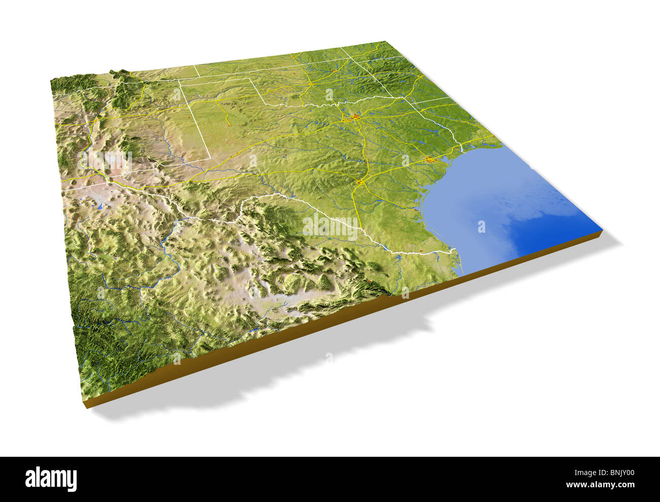 Relief Map Of Texas.Texas 3d Relief Map With Urban Areas Interstate Highways And Stock