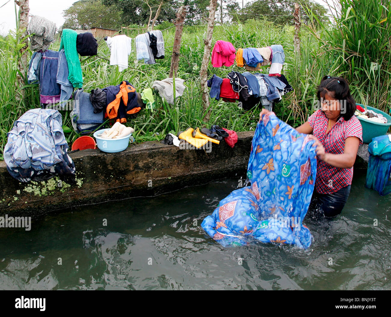 Woman is washing laundry in a small river in Ecuador, South America on Sept. 3, 2005. - Stock Image