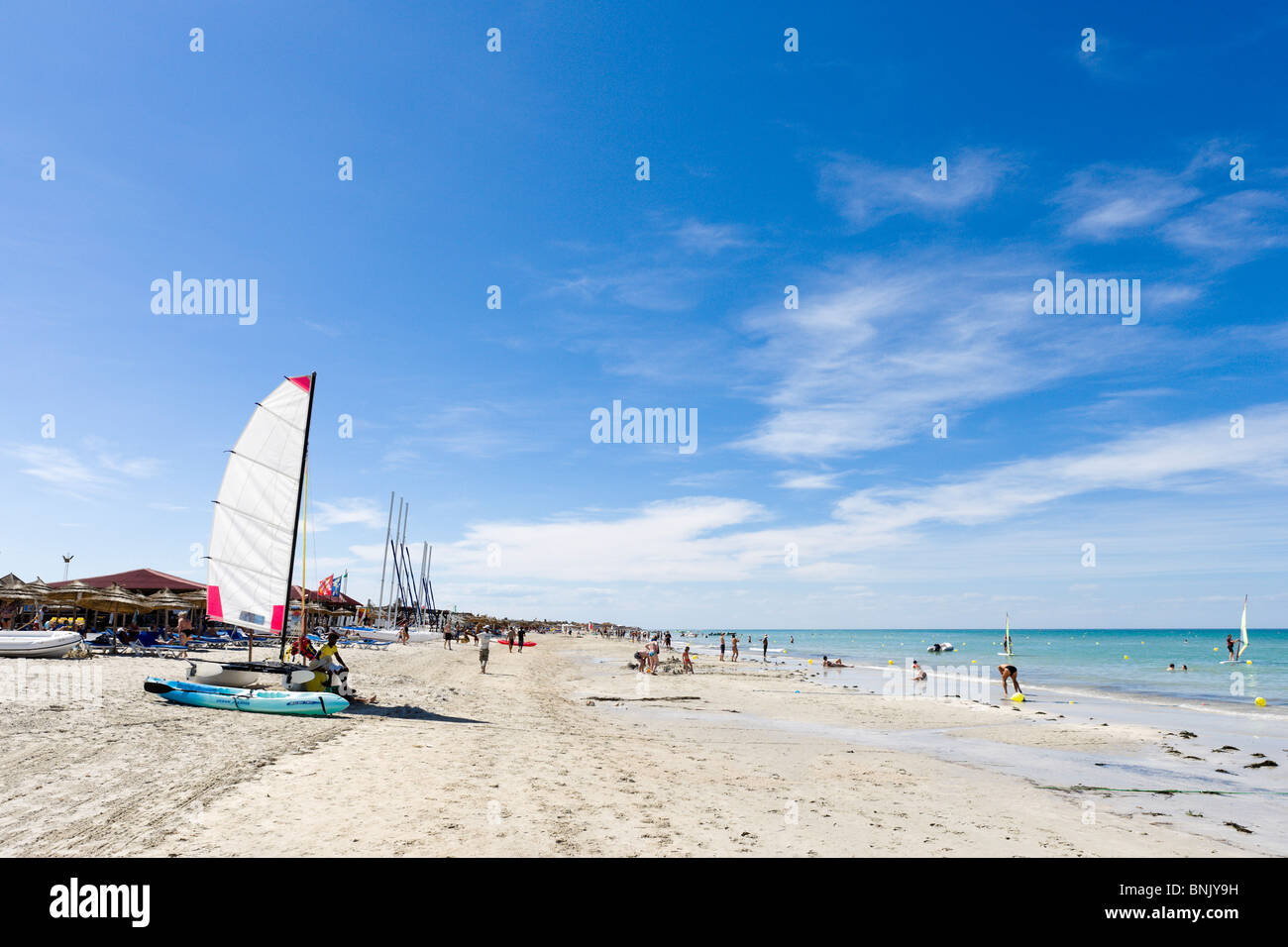 Beach in the hotel zone near to the Hotel Club Magic Life Penelope Beach Imperial, Houmt Souk, Djerba, Tunisia - Stock Image