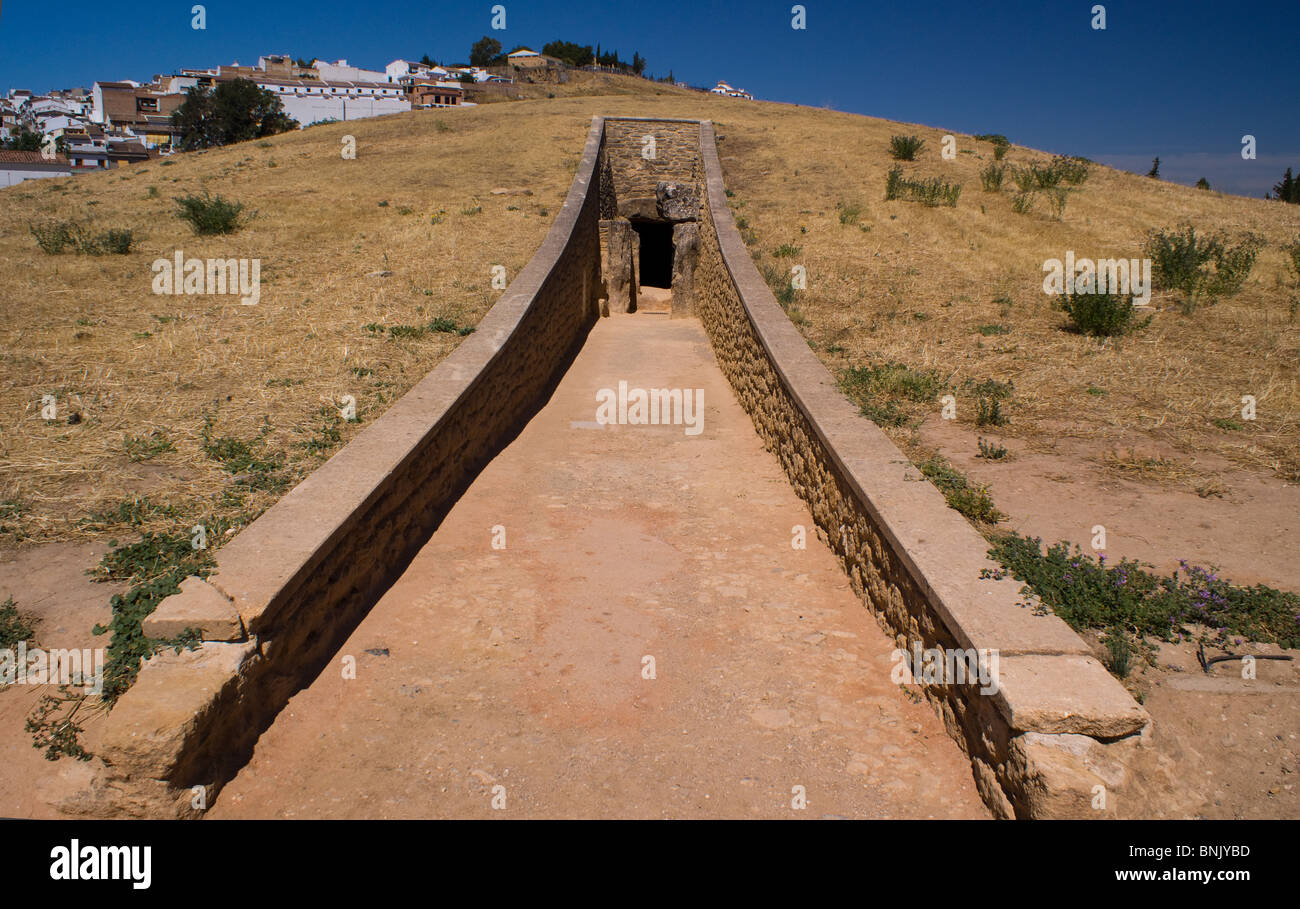 VIEWS OF THE DOLMENS ANTEQUERA ANTEQUERA ANCIENT BURIAL GROUND SPAIN Stock Photo