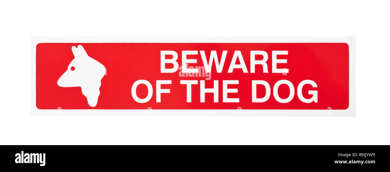Red beware of the dog warning sign - Stock Image
