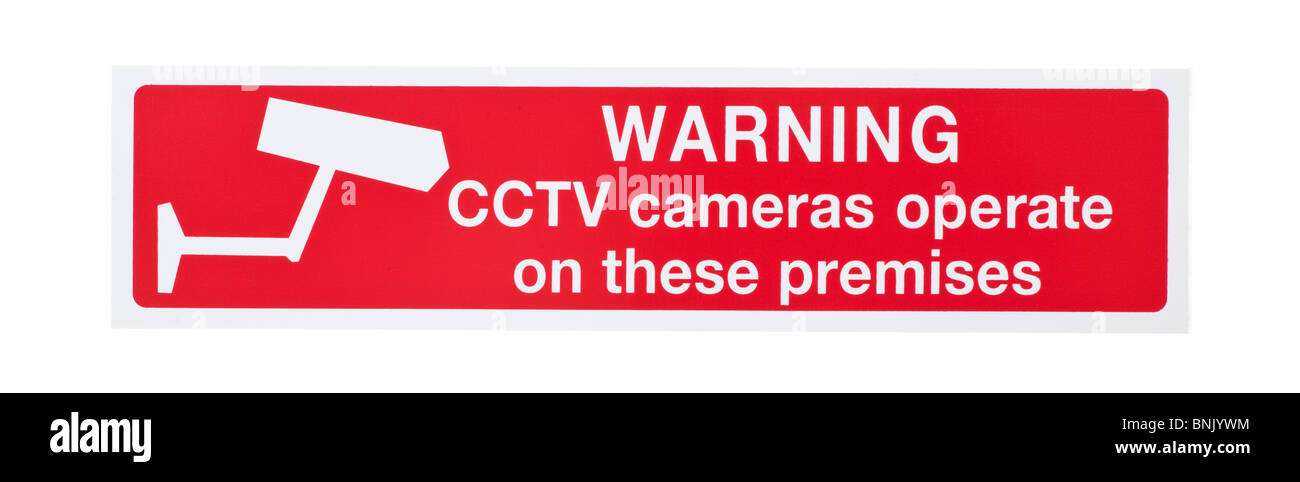 Red CCTV cameras operate on these premises warning sign - Stock Image