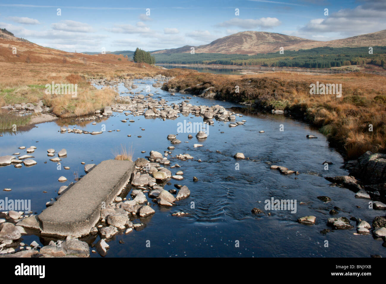 Burn flowing into Loch Doon on the Carrick Forest Drive - Stock Image