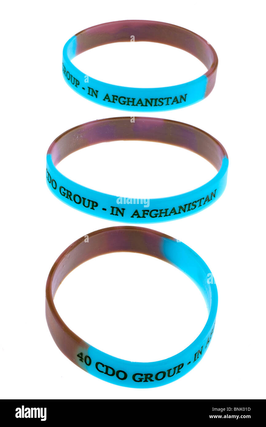 Three rubber wrist bands - Stock Image