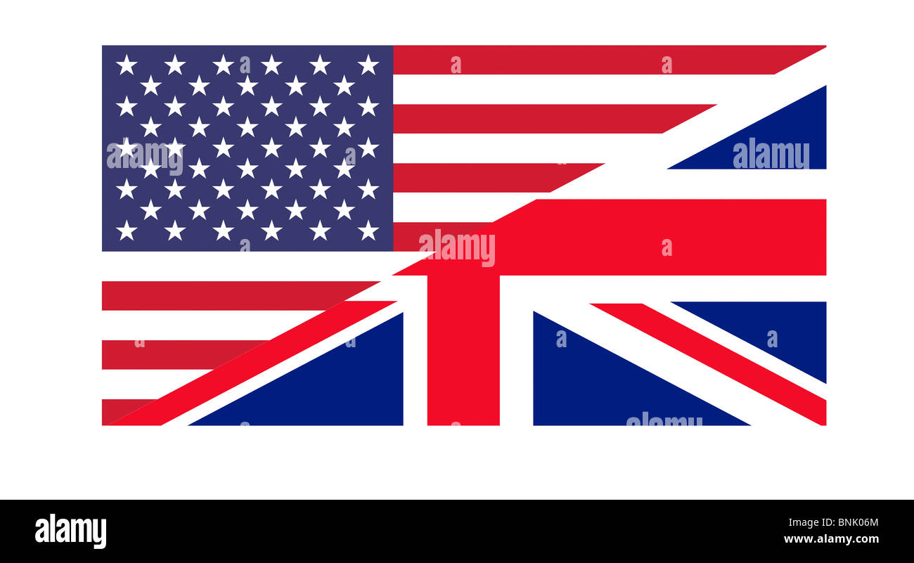 American and British flags joined together, isolated on white background. Stock Photo