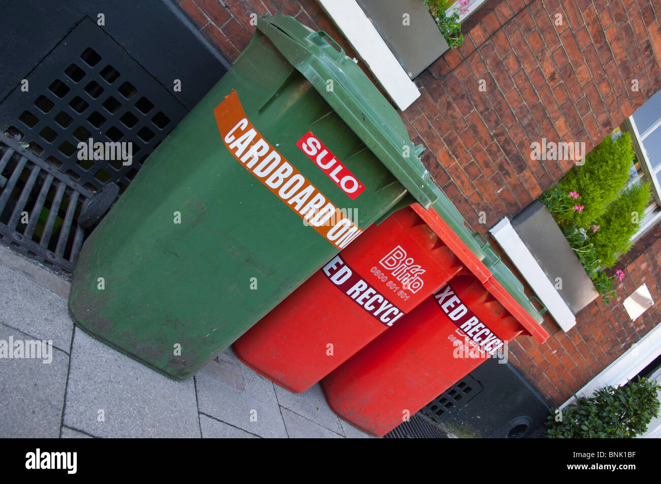 Green and red Assorted Sulo wheelie bins for recycling in the Uk Stock Photo
