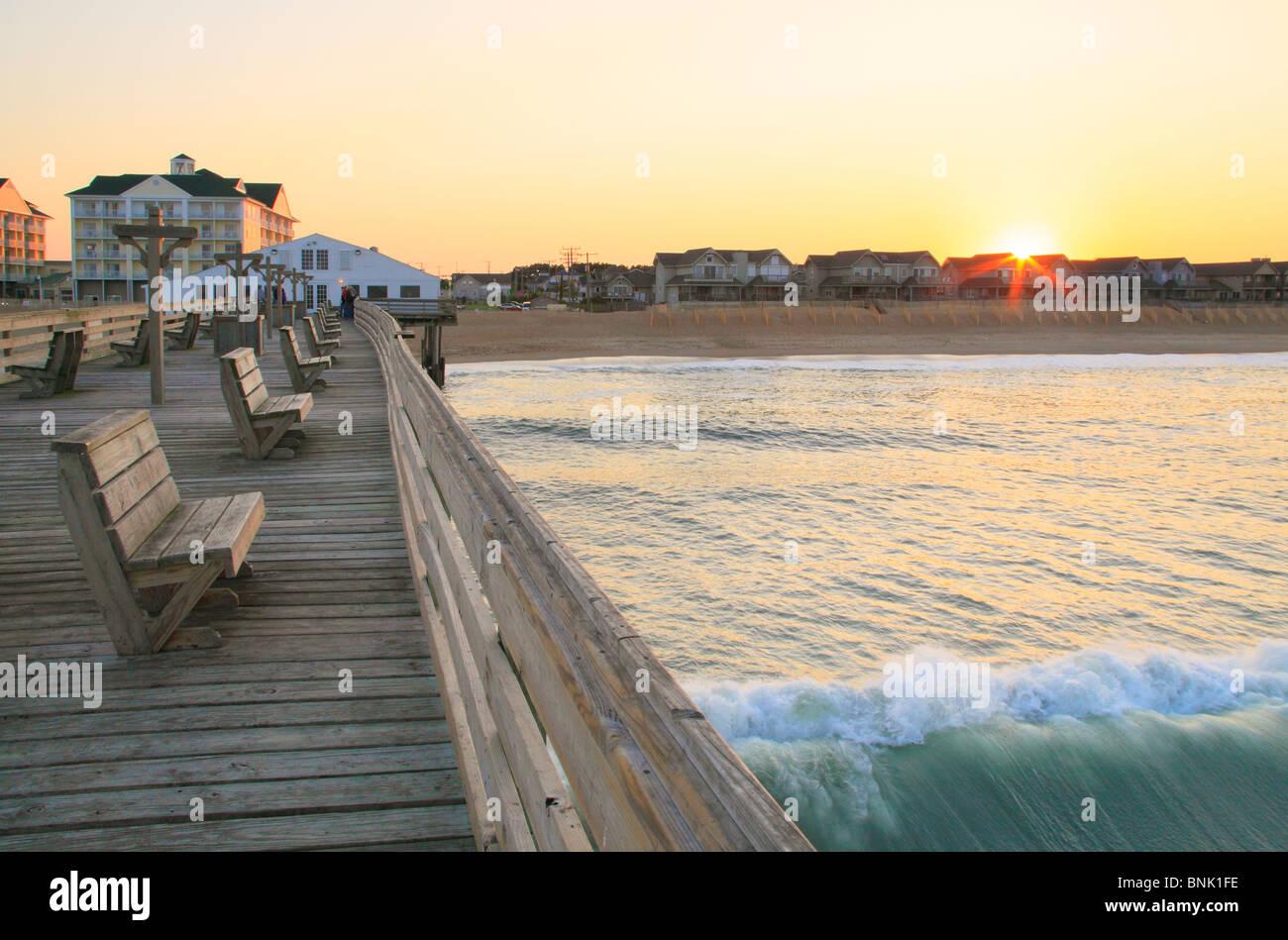 Sunset from the fishing pier at Kitty Hawk, North Carolina, USA - Stock Image
