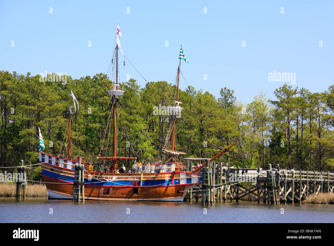 Queen Elizabeth II, Roanoke Island Festival Park, Manteo, North Carolina, USA Stock Photo