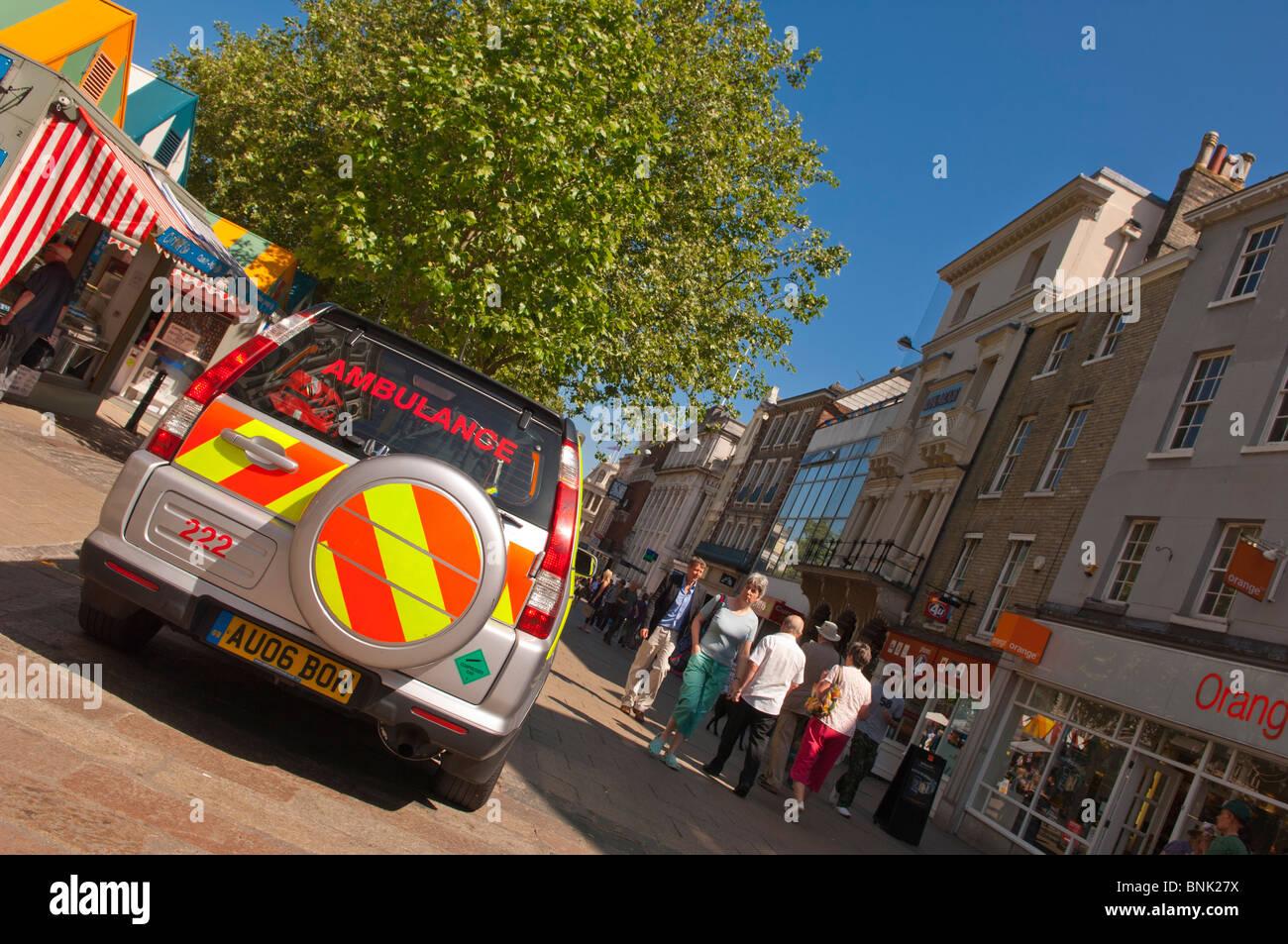 A 4 wheel drive ambulance emergency vehicle in Norwich , Norfolk , England , Great Britain , Uk - Stock Image