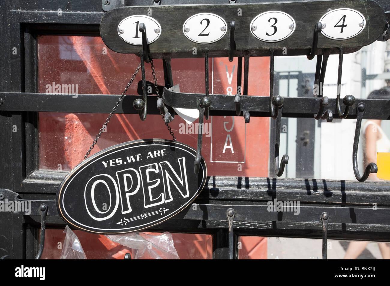 Open sign on door Stock Photo