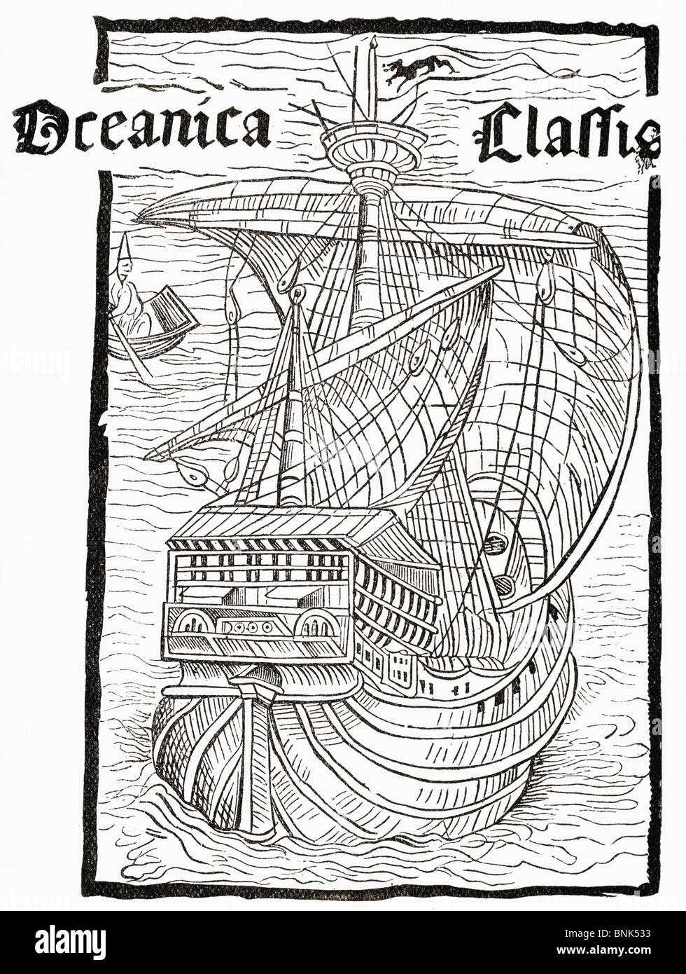 Oceanica Classis, a caravel, supposedly Columbus's sailing ship. From Leandro de Cosco´s Latin version - Stock Image