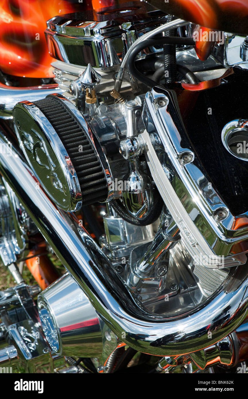 Orange County Chopper motorcycle v twin engine and airbrushed custom paintwork - Stock Image