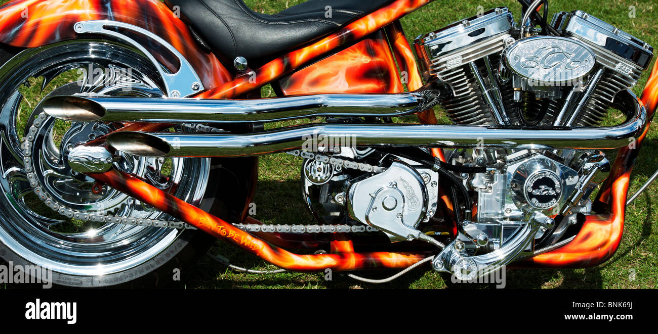 Orange County Chopper motorcycle with a v twin engine and airbrushed custom paintwork. Panoramic - Stock Image
