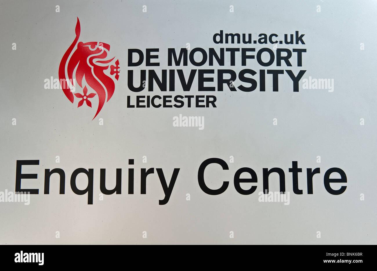 Sign for De Montfort University Enquiry Centre in Leicester city. - Stock Image