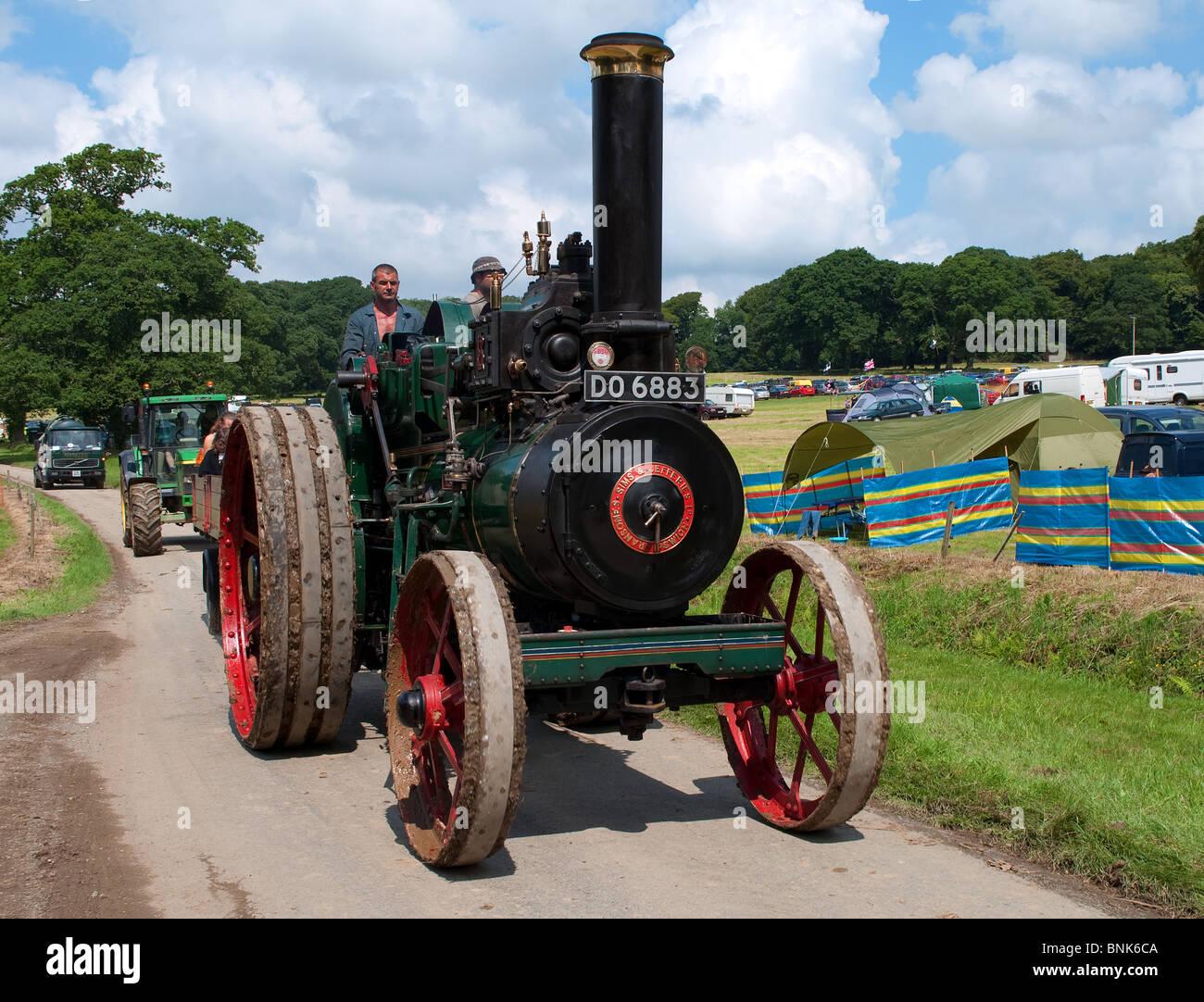 a traction engine at boconnoc steam rally, boconnoc house near liskeard in cornwall, uk - Stock Image