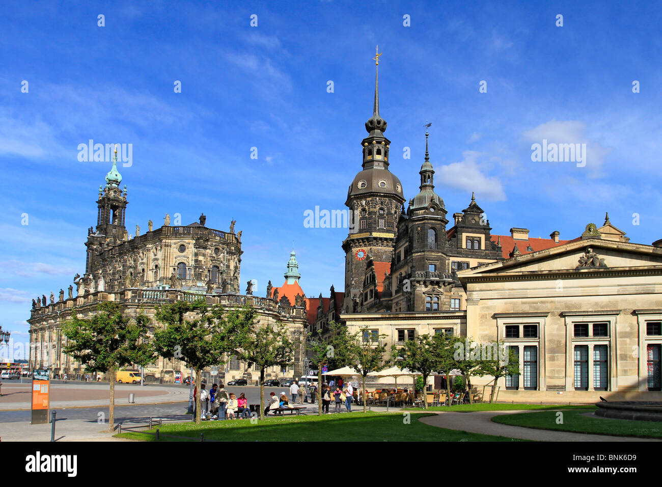 Catholic Hofkirche, Dom, built 1739_1751 in baroque style and Residenz Castle, Germany, Saxony, Dresden - Stock Image