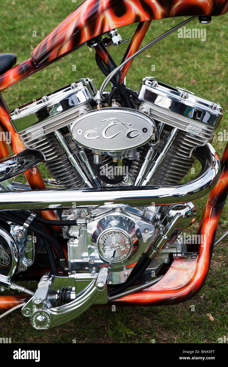 Custom chopper Harley Davidson motorcycle with a v twin panhead engine and airbrushed custom paintwork - Stock Image