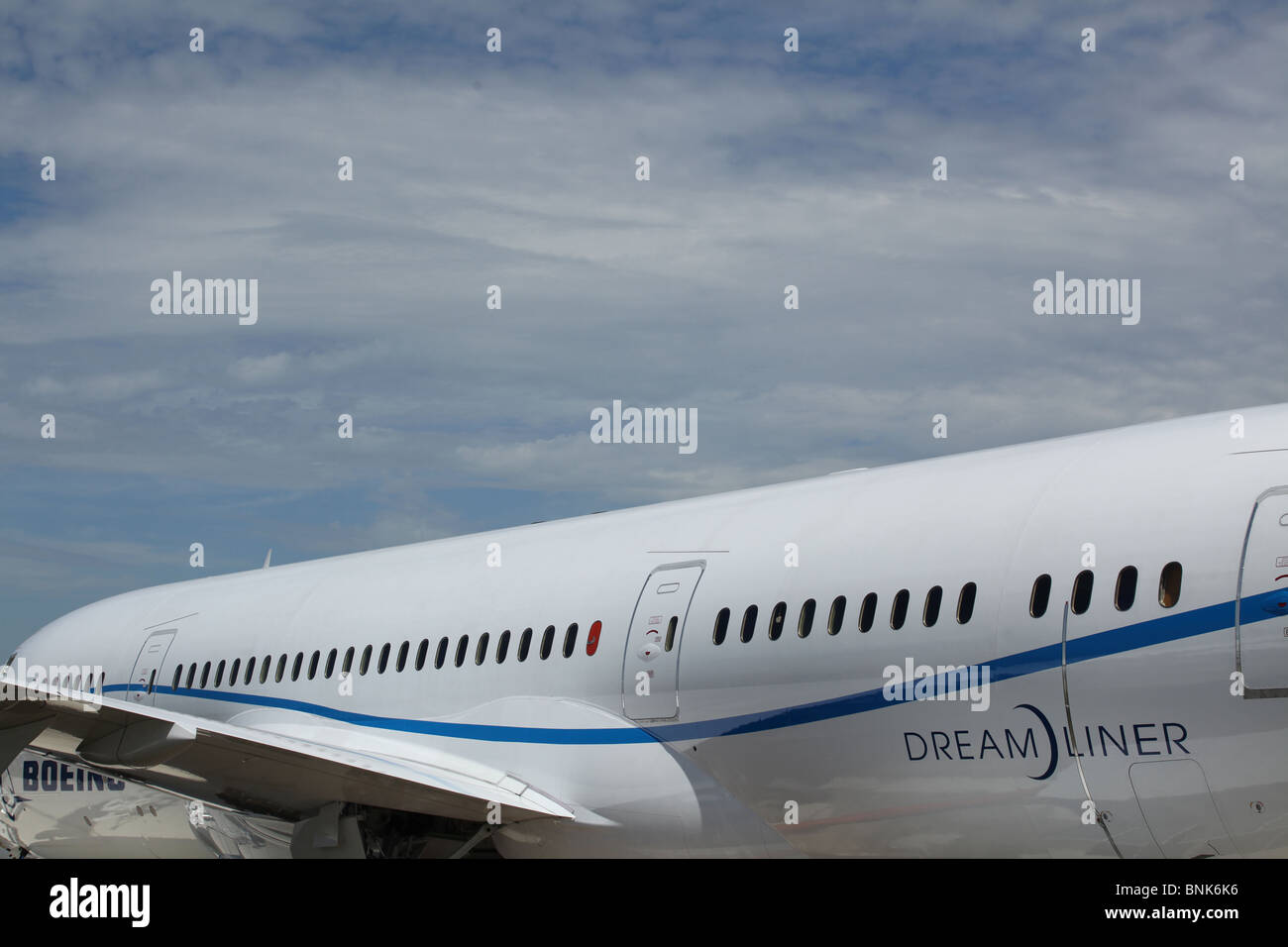 close up of fuselage of Boeing 787 Dreamliner - Stock Image