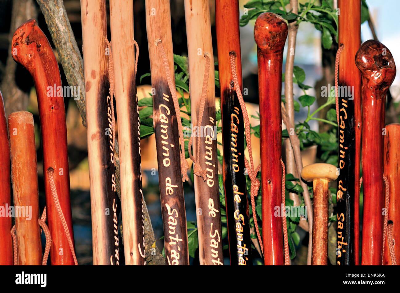Spain, St. James Way: Walking sticks for St. James Pilgrims - Stock Image