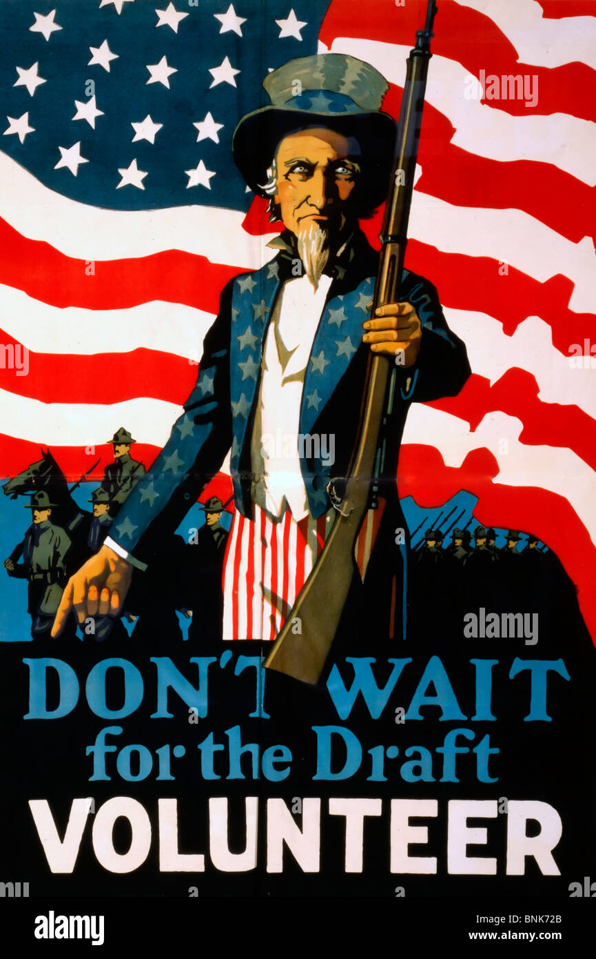 Don't wait for the draft--Volunteer - World War I USA Poster - Stock Image