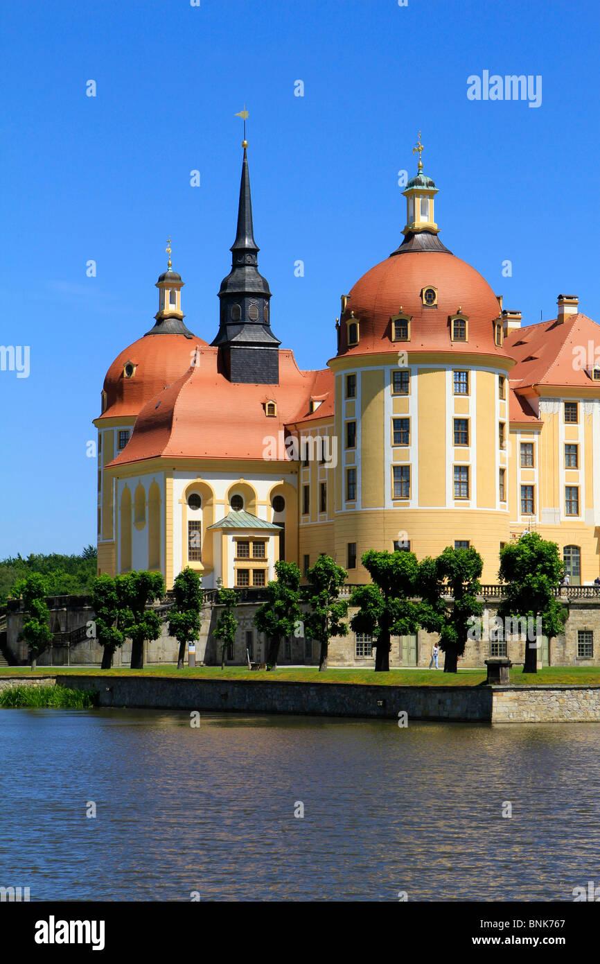 Baroque Moritzburg Castle, Dresden, Saxony, Germany, Europe - Stock Image