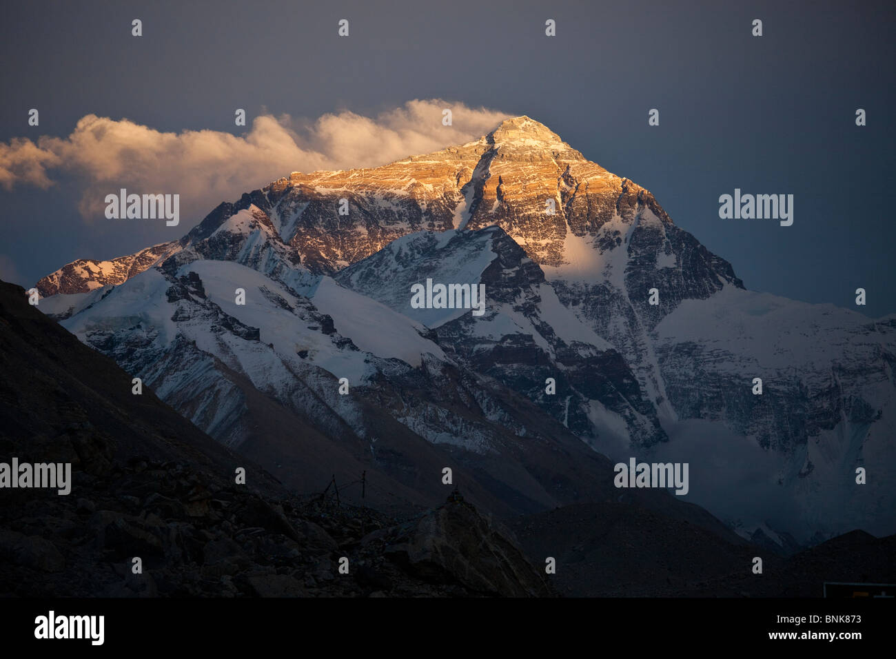 Mount Everest from the Tibetan side - Stock Image