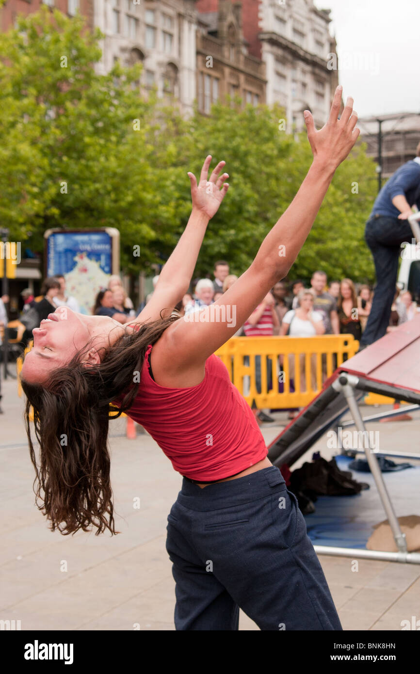 Motionhouse dance company performing 'Cascade' as part of the  three-days Greater Manchester festival Urban - Stock Image
