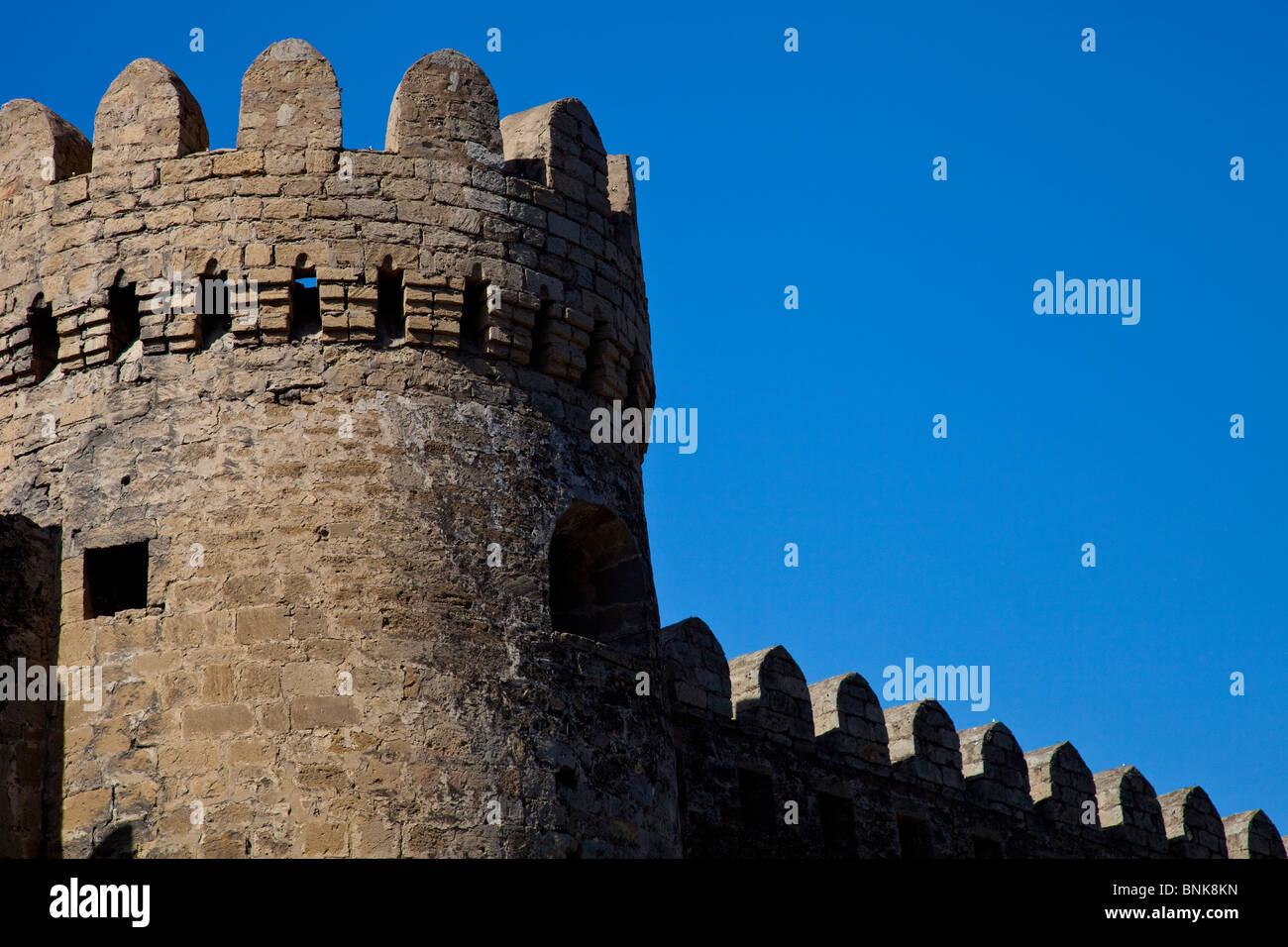Old city walls, Baku, Azerbaijan - Stock Image