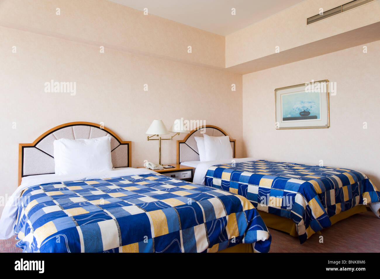 Hilton Hotel room with twin beds - Stock Image