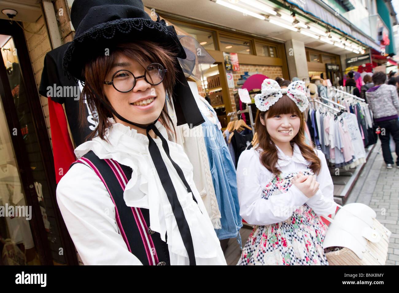 Teenagers wearing cosplay clothes on Takeshita Dori in Harajuku, Tokyo, Japan - Stock Image