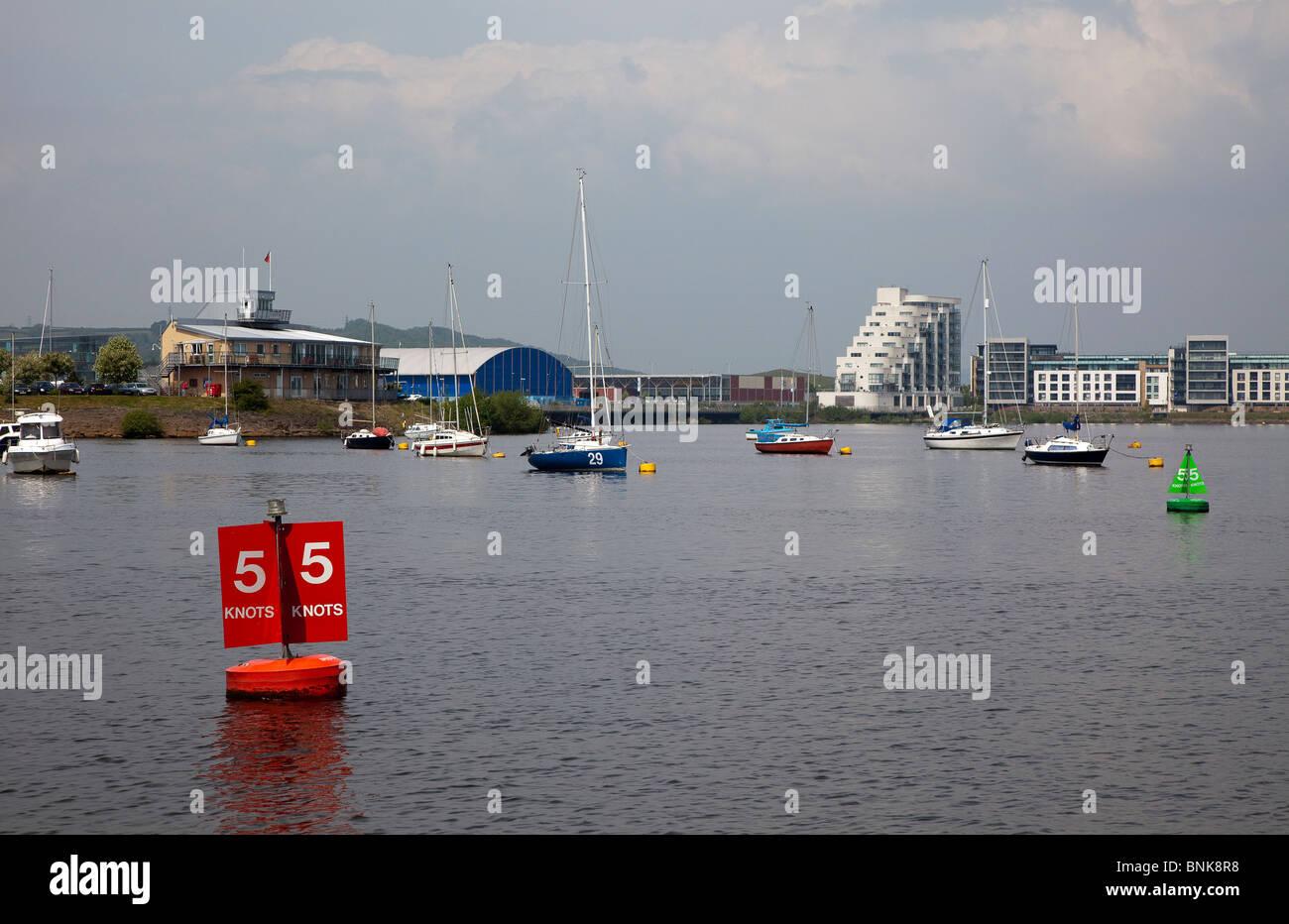 Speed limit sign on buoy Cardiff Bay Wales UK - Stock Image