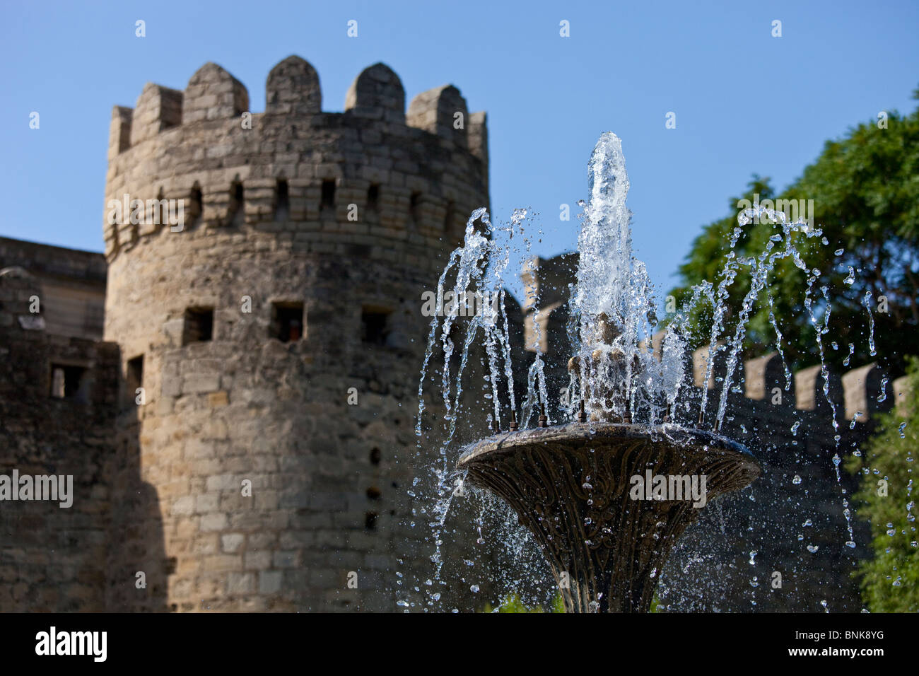 Fountain in front of the old city walls, Baku, Azerbaijan - Stock Image