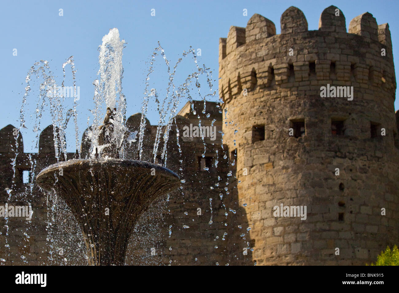 Fountain in front of the old city walls, Baku, Azerbaijan Stock Photo