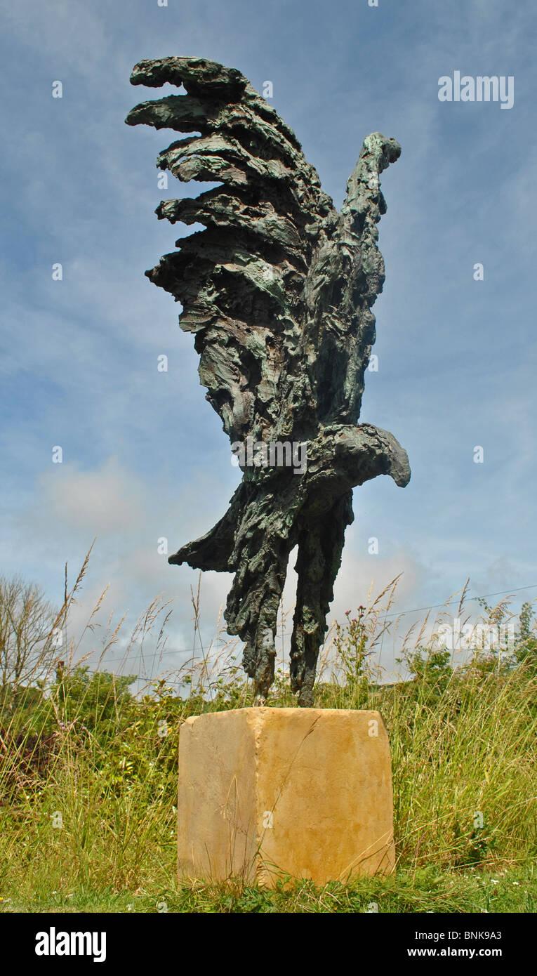 Sculpture Of An Eagle In Garden In Dorset, England   Stock Image