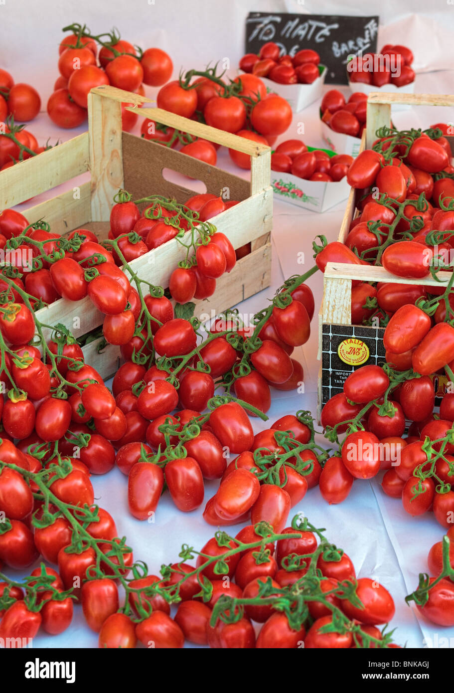Fresh Italian tomatoes at the market in old town Nice ,France. This market is called 'Marche aux Fleur' - Stock Image