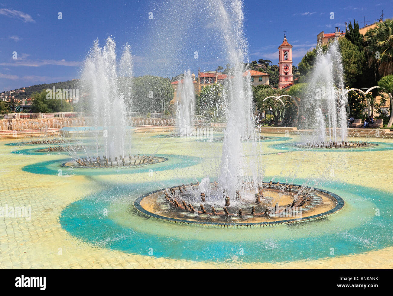 Fountains at Place Massena in downtown Nice on the French Riviera (Cote d'Azur) - Stock Image