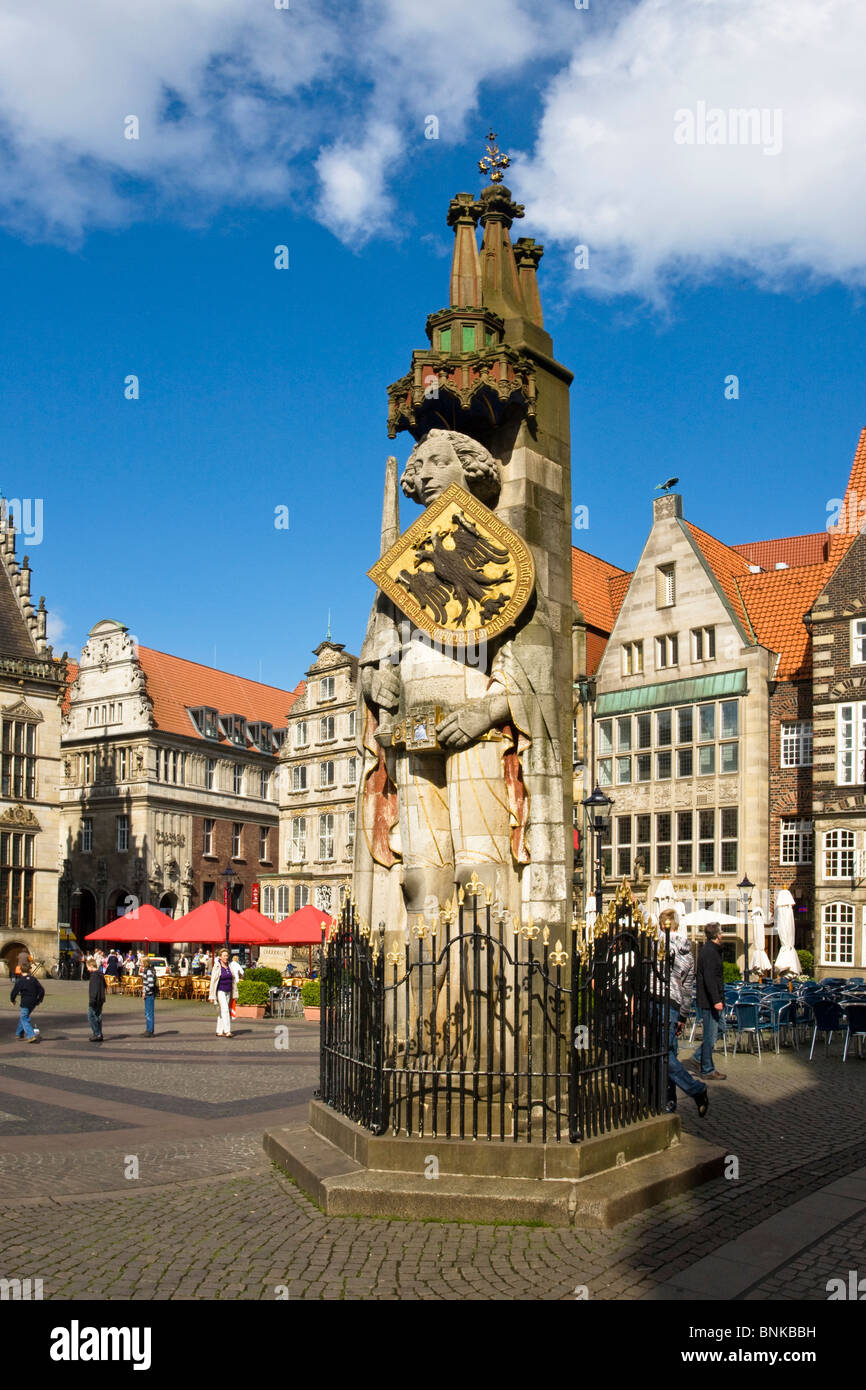Germany Bremen town city Roland plastic statue building construction place space marketplace traveling tourism holidays - Stock Image