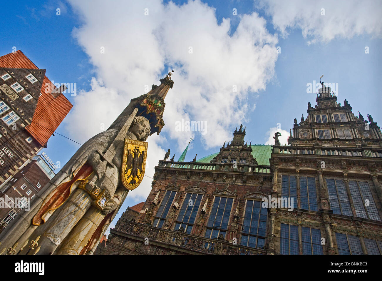 Germany Bremen town city Roland plastic statue building construction travel traveling tourism holidays vacation - Stock Image