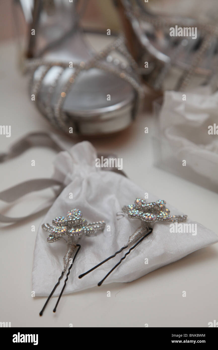 bridal adornment ,adornment ,bride,wedding,trinket ,hair styling, - Stock Image