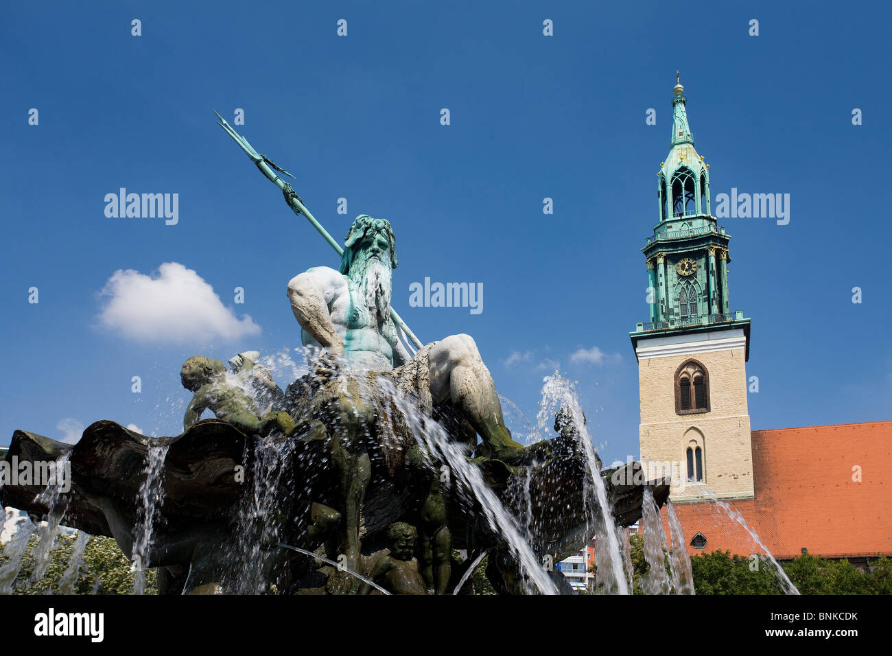 Germany Berlin town city Alexander's place television tower Marien's church well sculpture traveling tourism - Stock Image