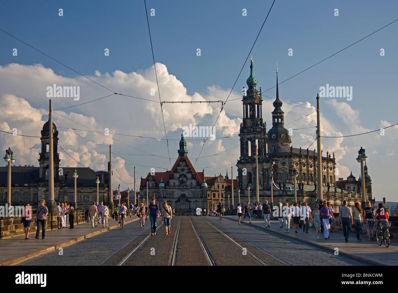 Germany Dresden Elbufer bridge Augustusbrücke. Residence castle castle tram rails travel tourism holidays vacation Stock Photo