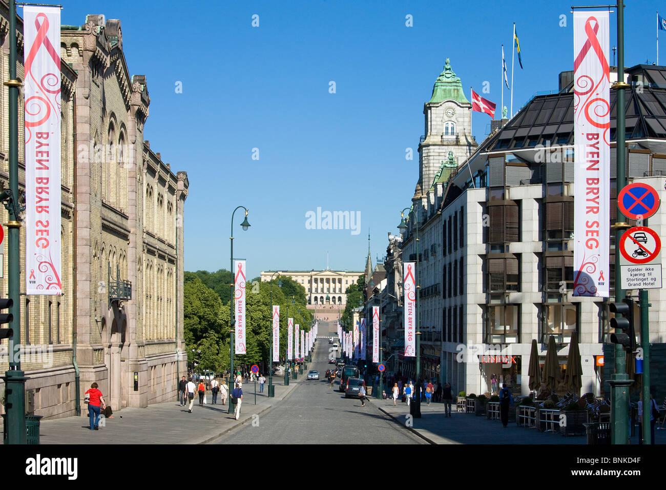 Norway Scandinavia Oslo town city Karl Johan street avenue palace royal palace travel holidays vacation tourism, - Stock Image