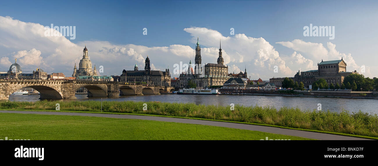 Germany Dresden Elbufer the Elbe river flow churches castle opera travel traveling tourism holidays vacation Stock Photo