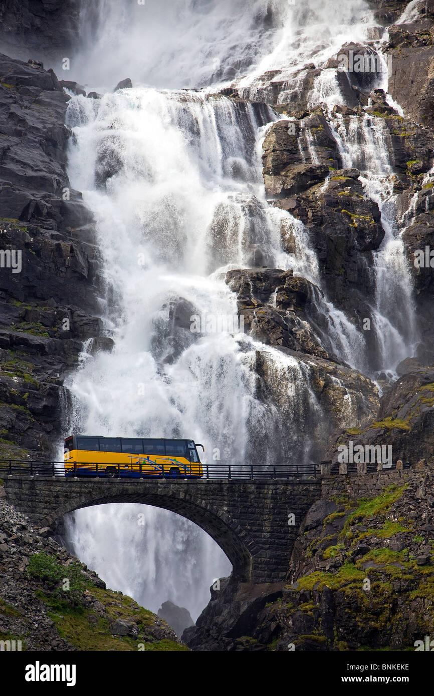 Norway Scandinavia Trollstigen bridge bus waterfall travel holidays vacation tourism, - Stock Image