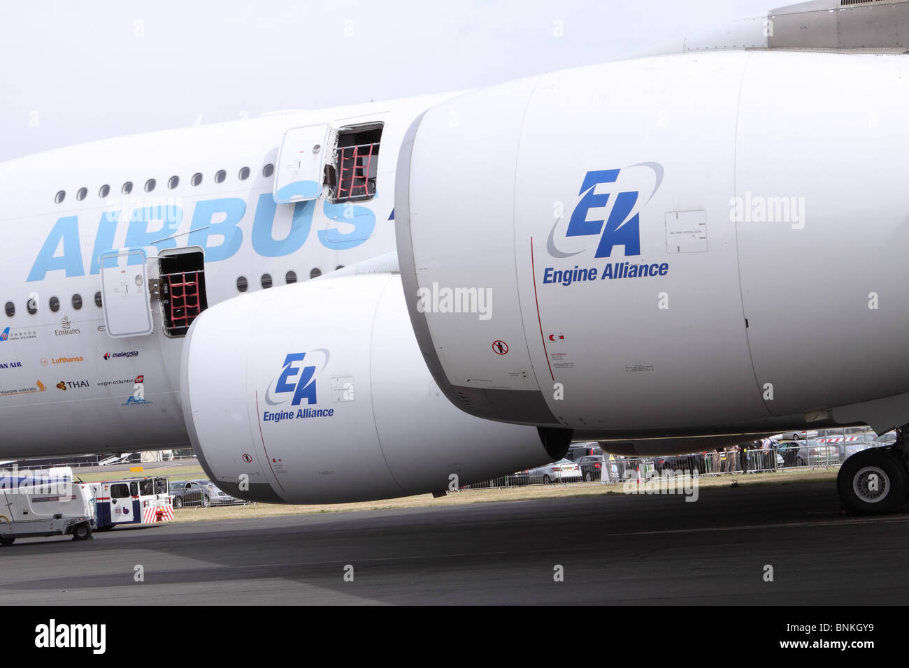 Airbus A380 jet airliner with EA Engine Alliance GP7200 engines - Stock Image