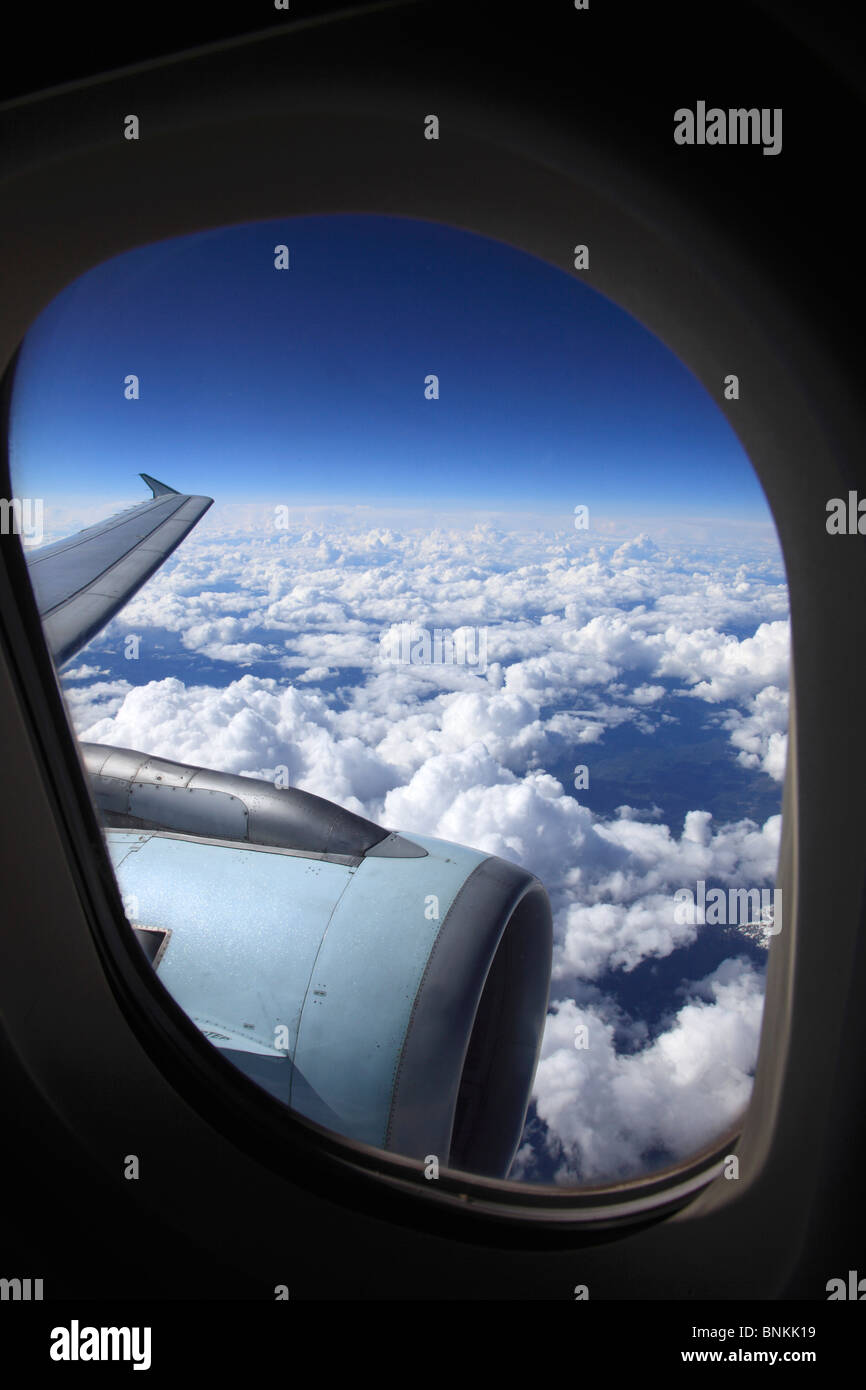 View through airplane window - Stock Image